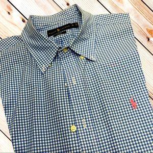 RALPH LAUREN POLO Mens XL Blue White Check Shirt